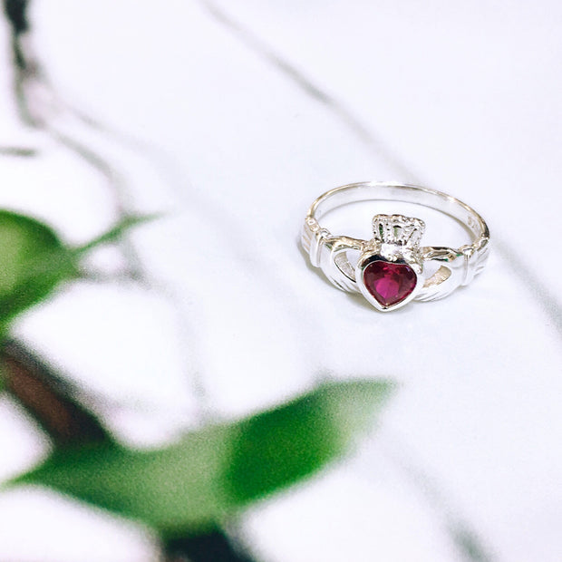 Sterling Silver Ruby Zirconia Claddagh Ring