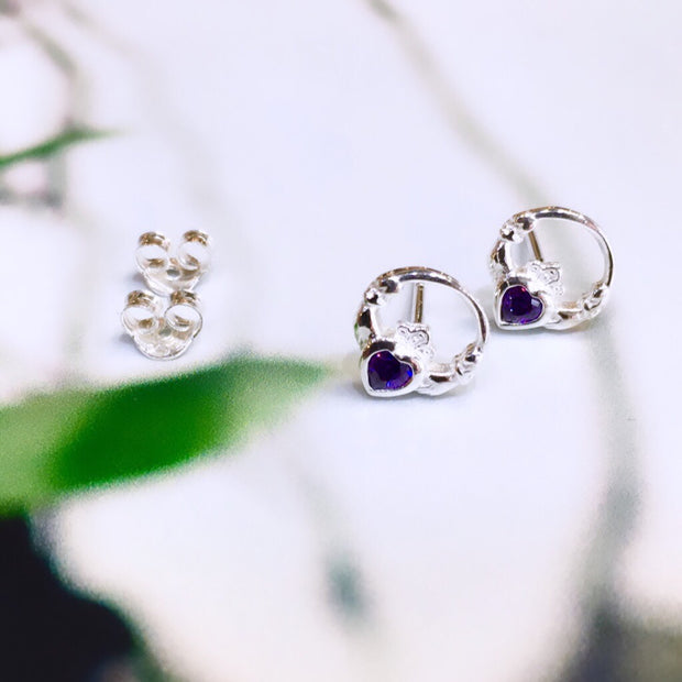 February (Amethyst Zircon) Birthstone Claddagh Studs