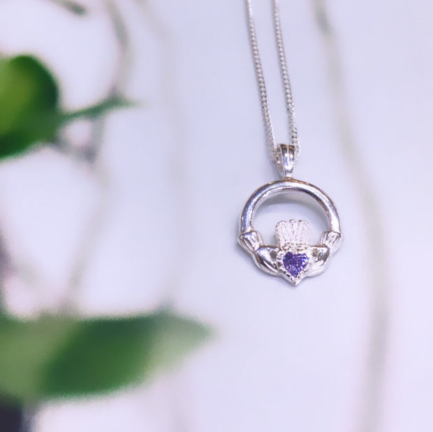 June Birthstone Claddagh Pendant