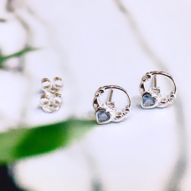 March (Aquamarine CZ ) Birthstone Claddagh Studs