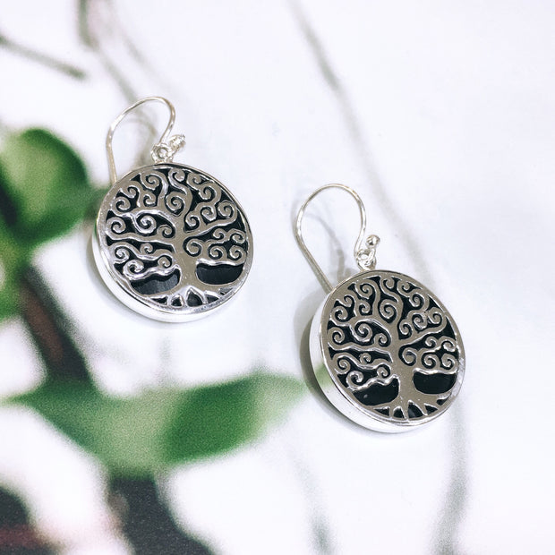 Sterling Silver Onyx Tree Earrings