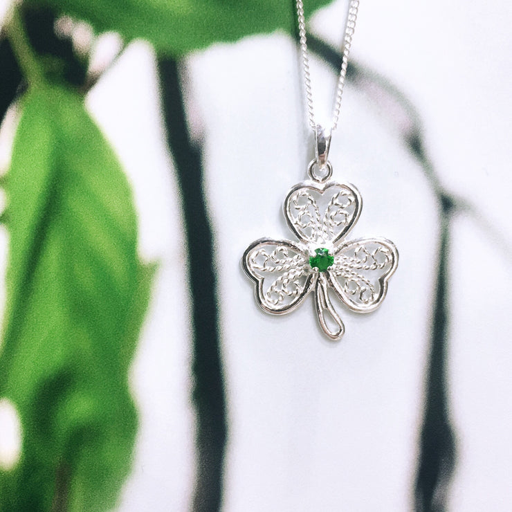 Sterling Silver Detailed Zirconia Shamrock Pendant