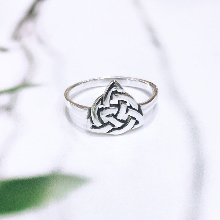 Sterling Silver Trinity Knot, with Knotowrk -  Ring