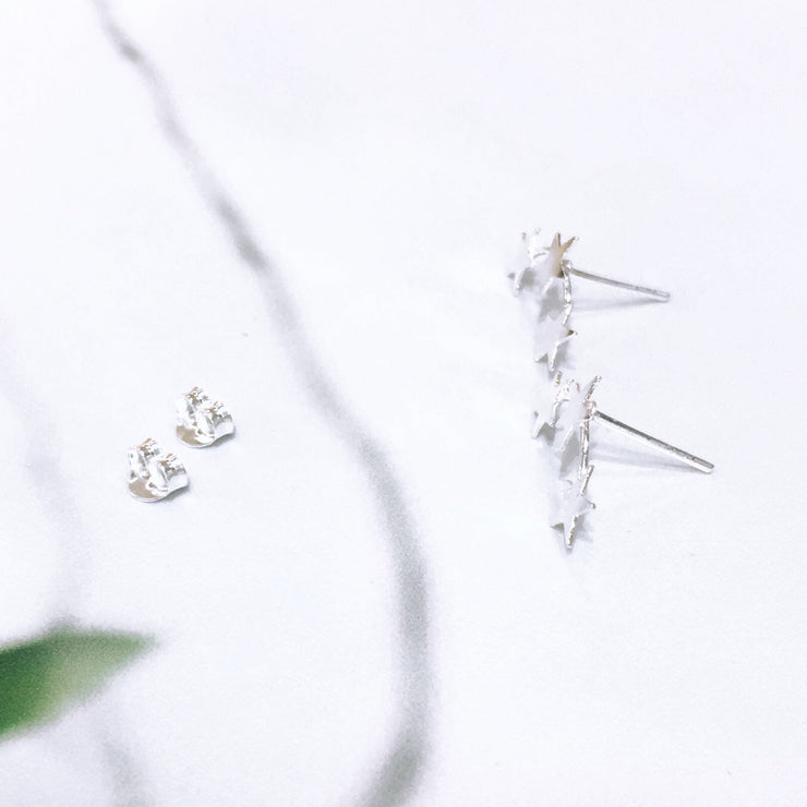 Sterling Silver Star Climber Studs
