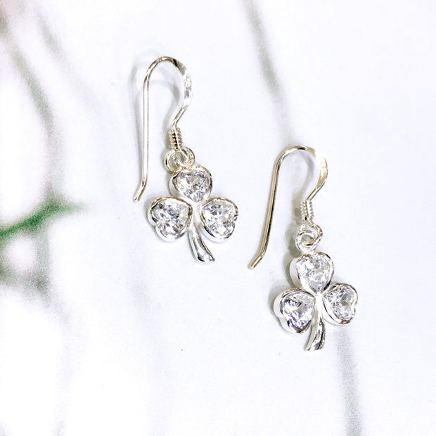 Sterling Silver White Zirconia Shamrock Earrings