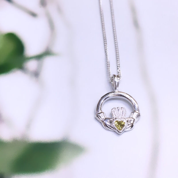November (Citrine Zircon) Birthstone Claddagh Pendant