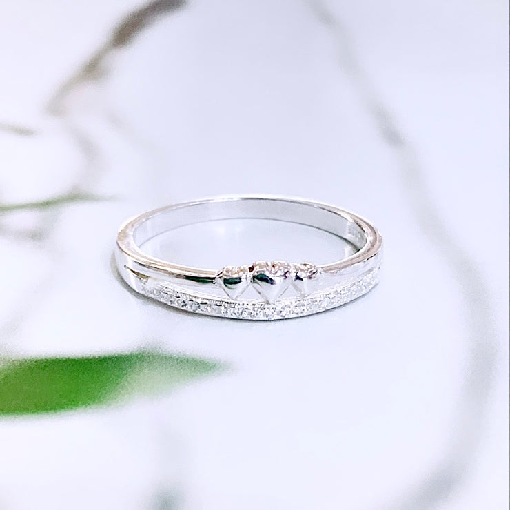 Sterling Silver CZ Moon Studs