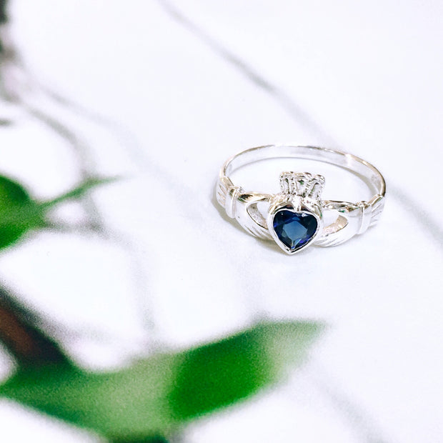Sterling Silver Sapphire Zirconia Claddagh Ring