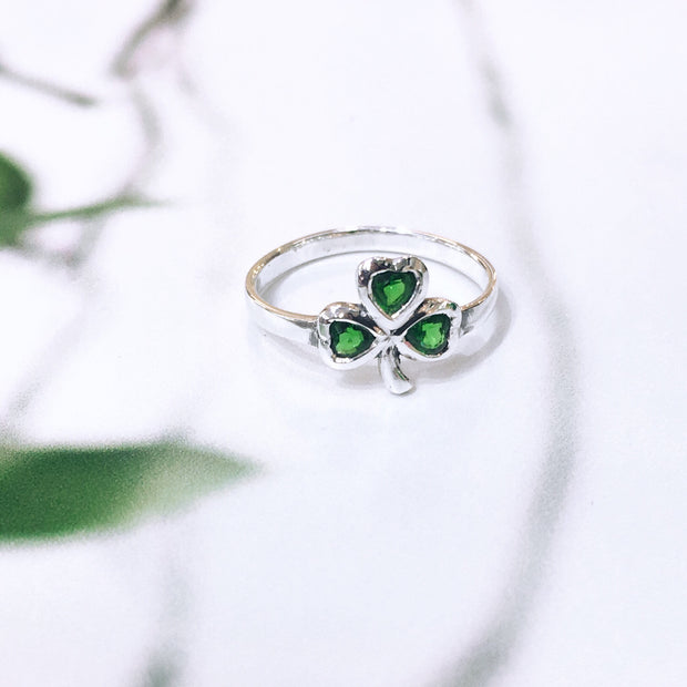 Green CZ Shamrock Ring - Sterling Silver