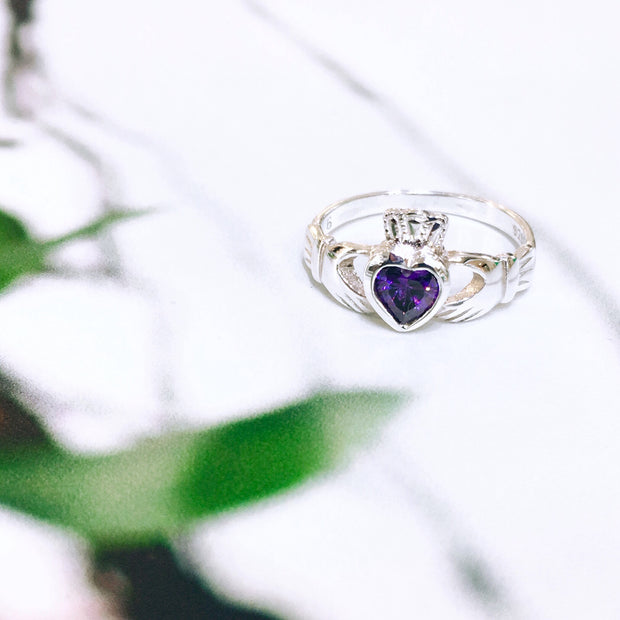 Sterling Silver Amethyst Zirconia Claddagh Ring