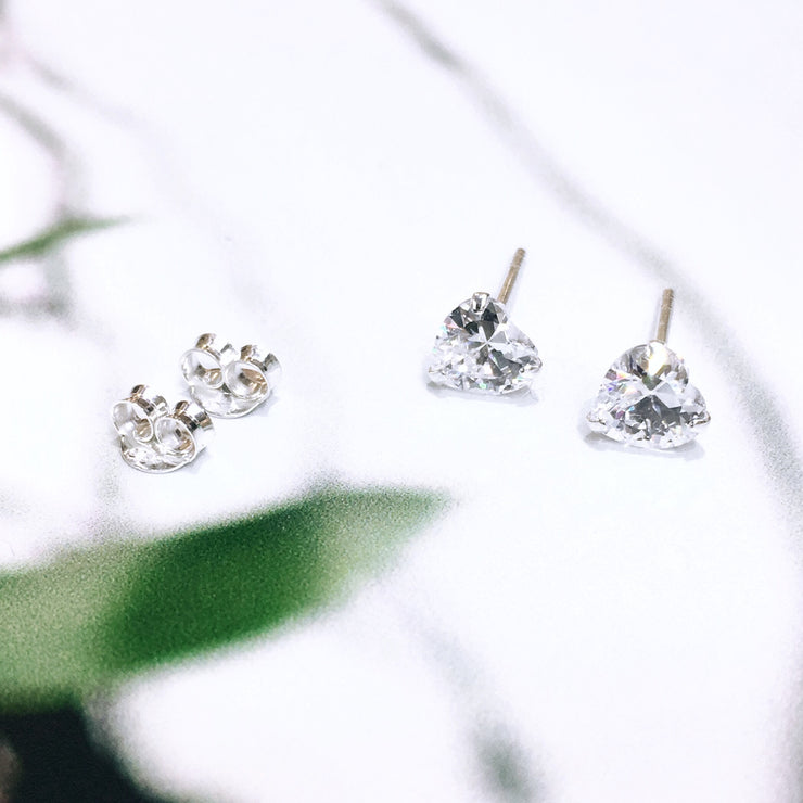 Sterling Silver Cubic Zirconia Heart Studs (5 mm)