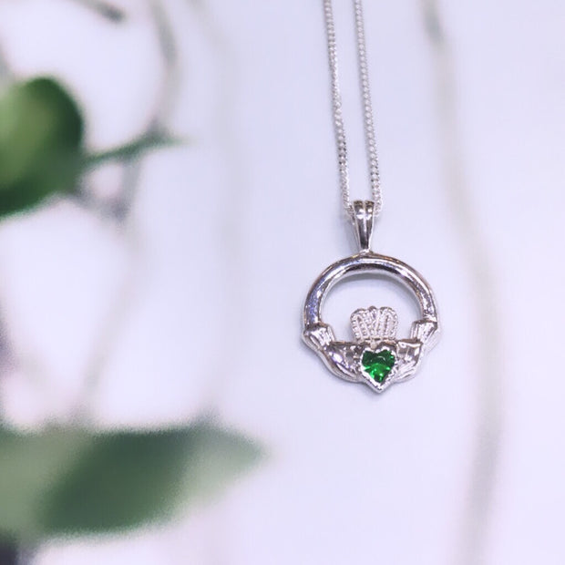 May (Emerald Zircon) Birthstone Claddagh Pendant