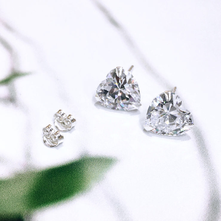 Sterling Silver Cubic Zirconia Heart Studs (1 cm)
