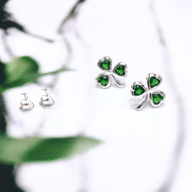 Shamrock Studs with Emerald CZ Stone