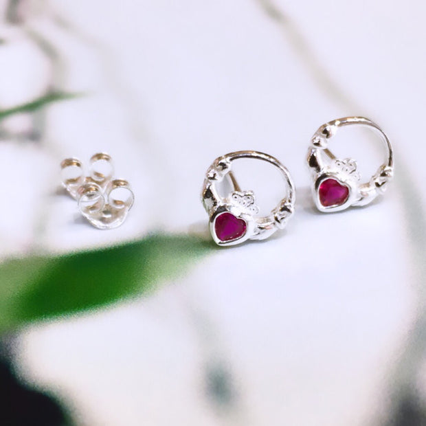 July (Ruby Zircon) Birthstone Studs