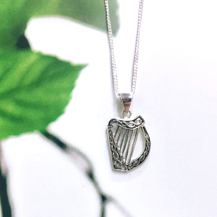 Sterling Sliver Traditional Harp Pendant