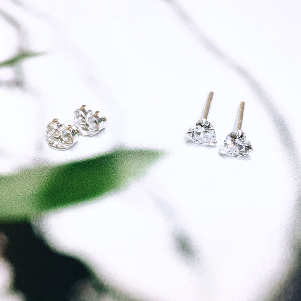 Sterling Silver Cubic Zirconia Heart Studs (4mm)