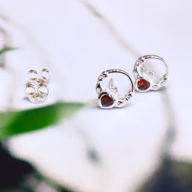 January (Garnet Zircon) Birthstone Claddagh Studs