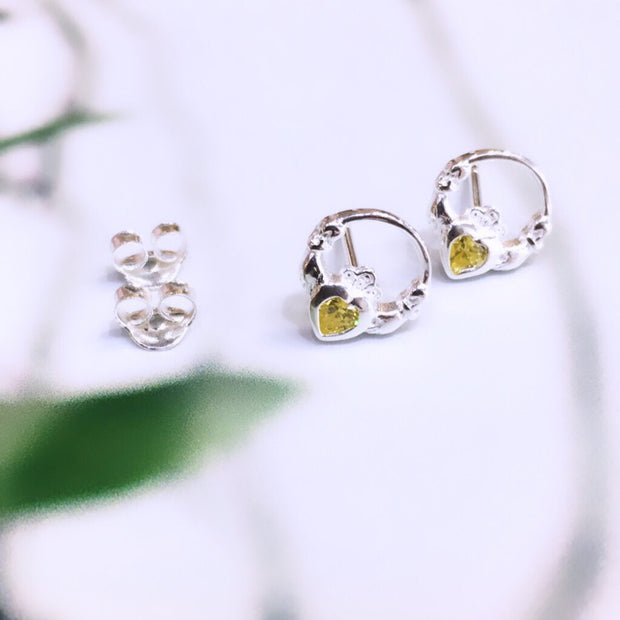 November (Citrine Zircon) Birthstone Studs