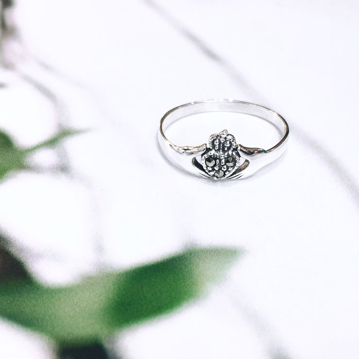 Sterling Silver Claddagh Ring with Maracasite
