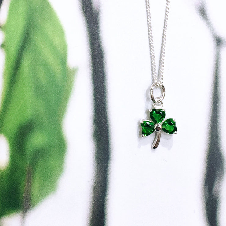 Sterling Silver Shamrock with Green Zirconia