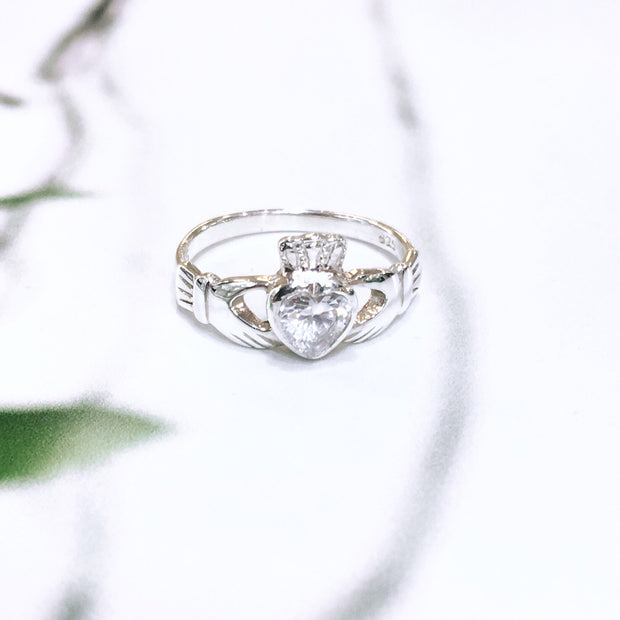 Sterling Silver White Zirconia Claddagh Ring