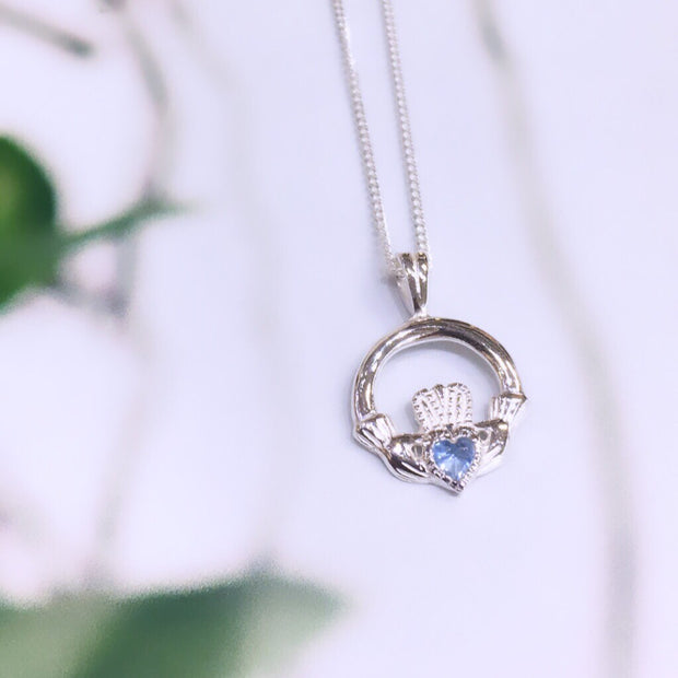 March (Aquamarine) Birthstone Claddagh Pendant