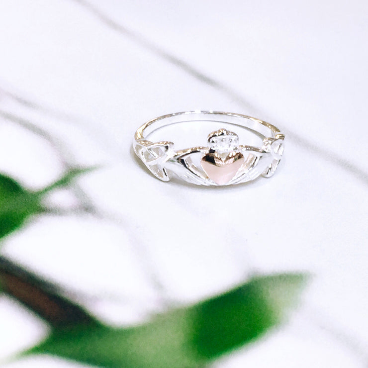Sterling Silver Claddagh with Rose Gold Heart