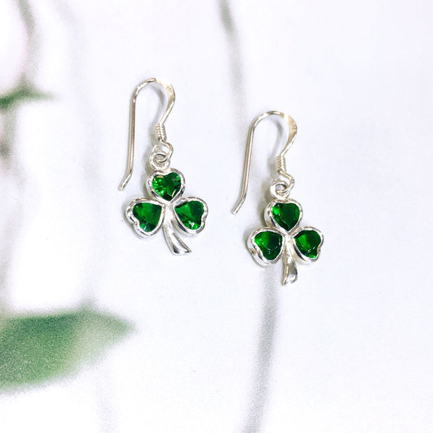 Sterling Silver Green Zirconia Shamrock Earrings