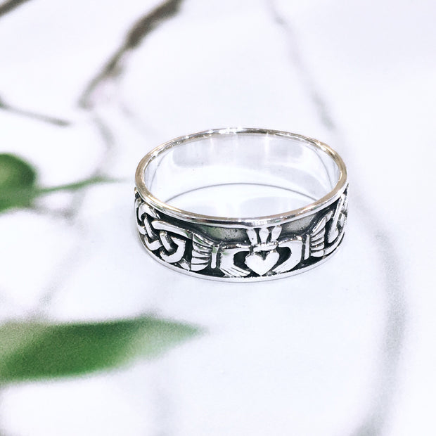 Sterling Silver Claddagh Band