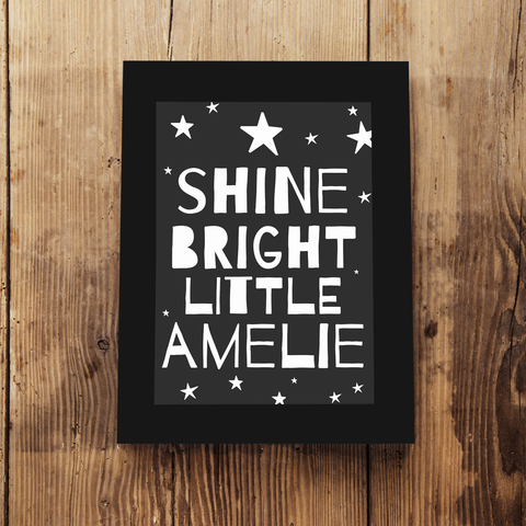 Children's Personalised 'Shine Bright' Framed A5 Print