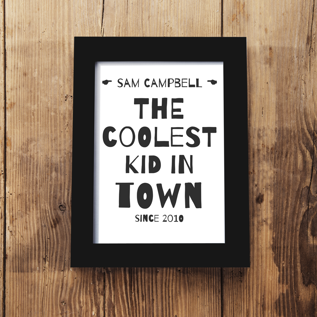 Personalised 'Coolest Kid In Town' Framed A5 Print
