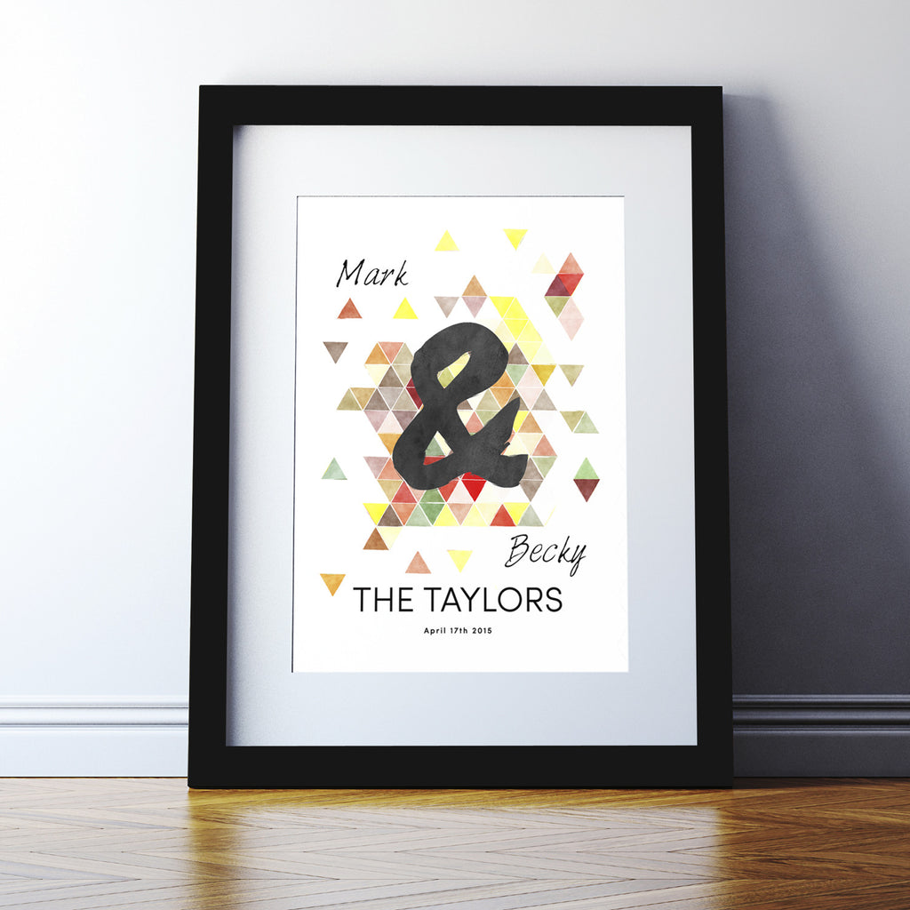 Personalised Geometric Couples Print