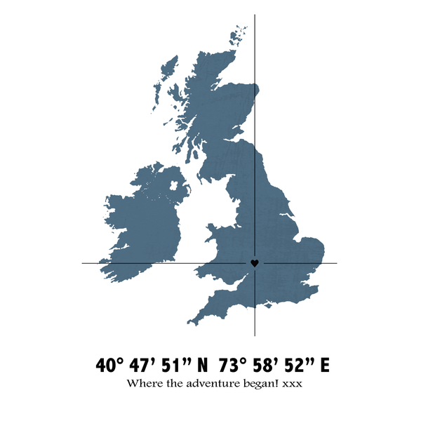 Personalised Coordinates Map Print