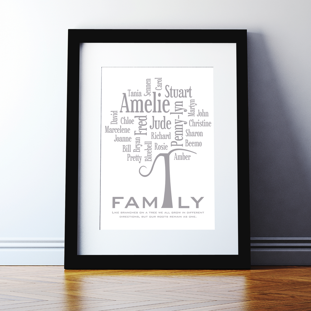 Personalised Family Tree Word Cloud Print