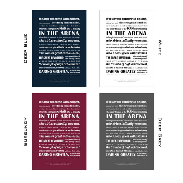 The Man In The Arena Typographic Print