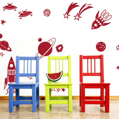 Rocket and Planets Wall Sticker Set