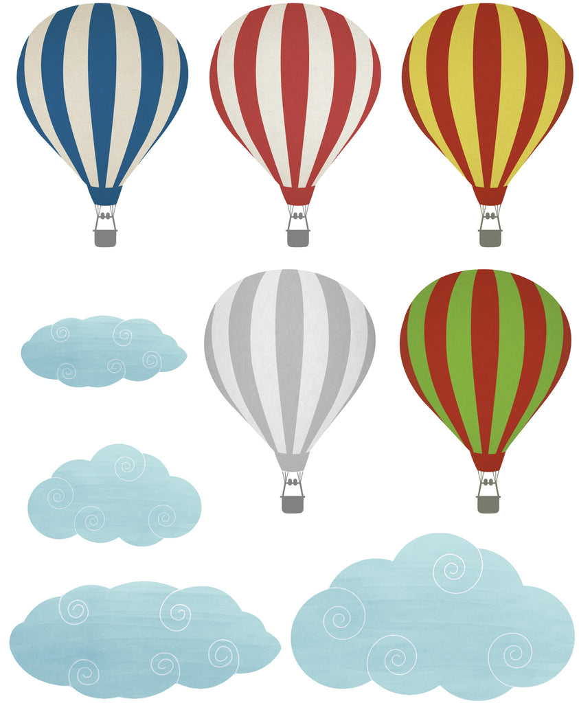 ... Fabric Hot Air Balloon Wall Stickers Part 36