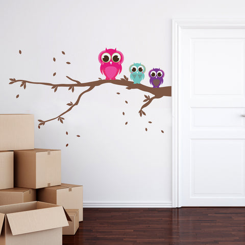 Patterned Owls On A Branch Wall Sticker Set