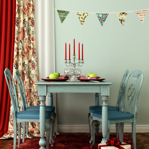 Fabric Christmas Bunting Wall Stickers