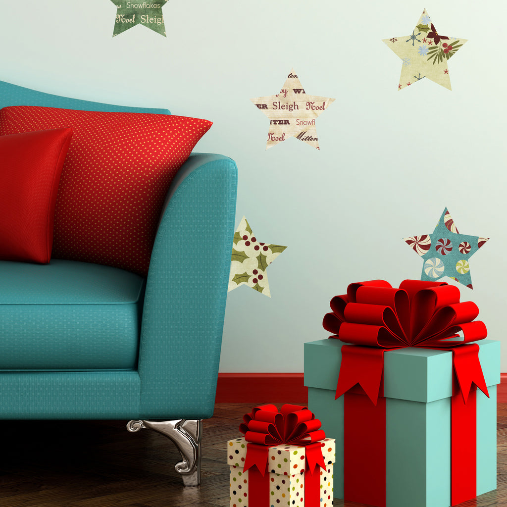 Fabric Christmas Stars Wall Stickers