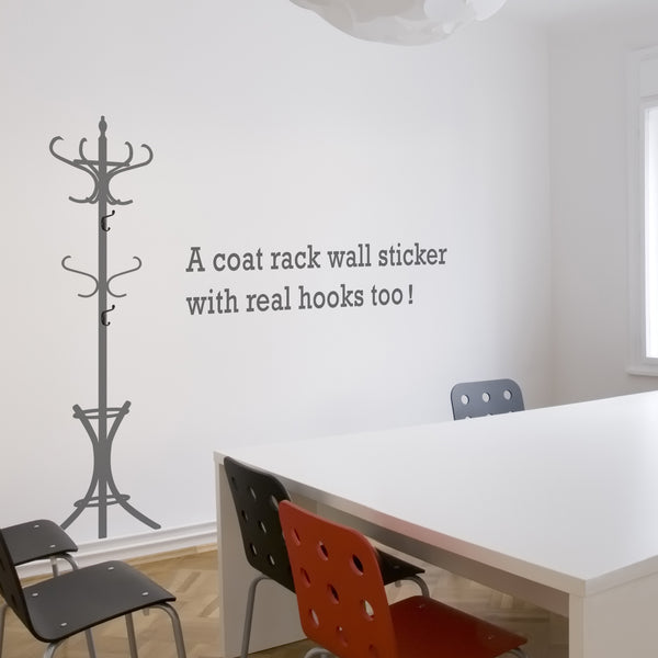 Coat Stand Wall Sticker With Hooks