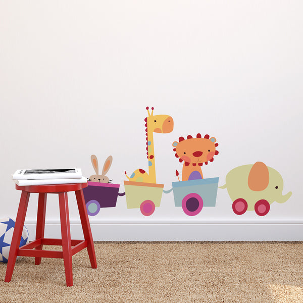 Fabric Animal Toy Train Wall Sticker