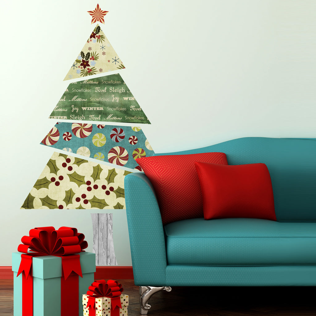 Fabric Patterned Christmas Tree Wall Sticker Part 70