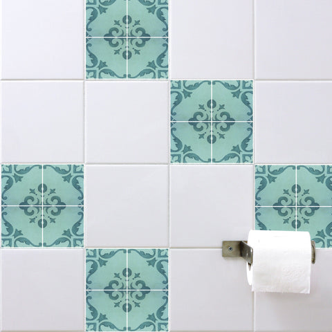 Spanish Tile Stickers Aquamarine