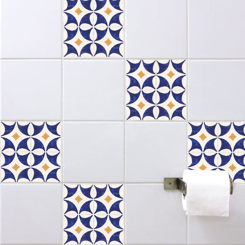 Spanish Tile Stickers Orange Blue