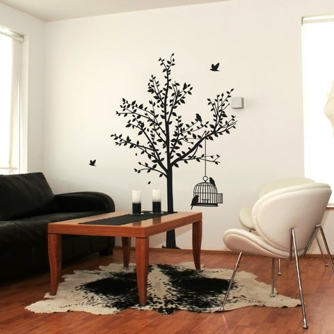 Tree And Birdcage Wall Sticker