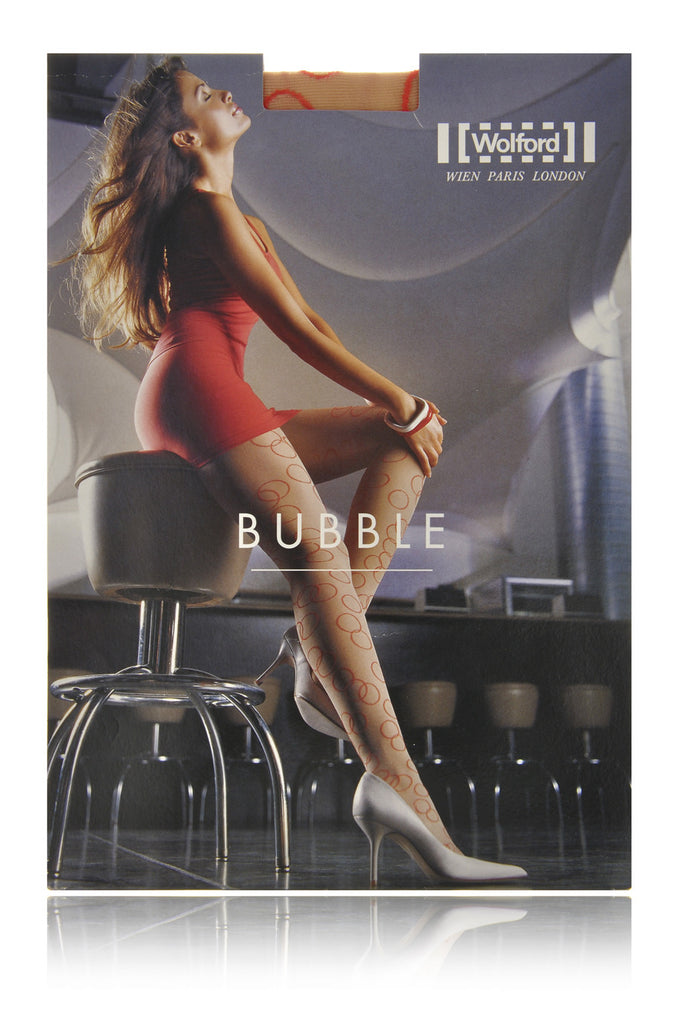 WOLFORD BUBBLE Beige Red Sheer Tights