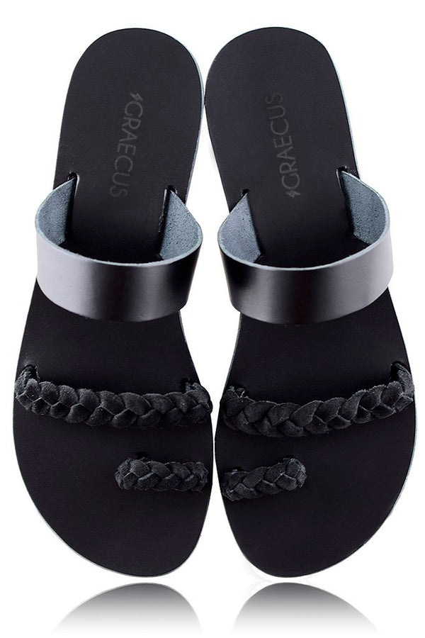 AGNOTIS Black Leather Sandals | GRAECUS Greek Handmade Leather Sandals