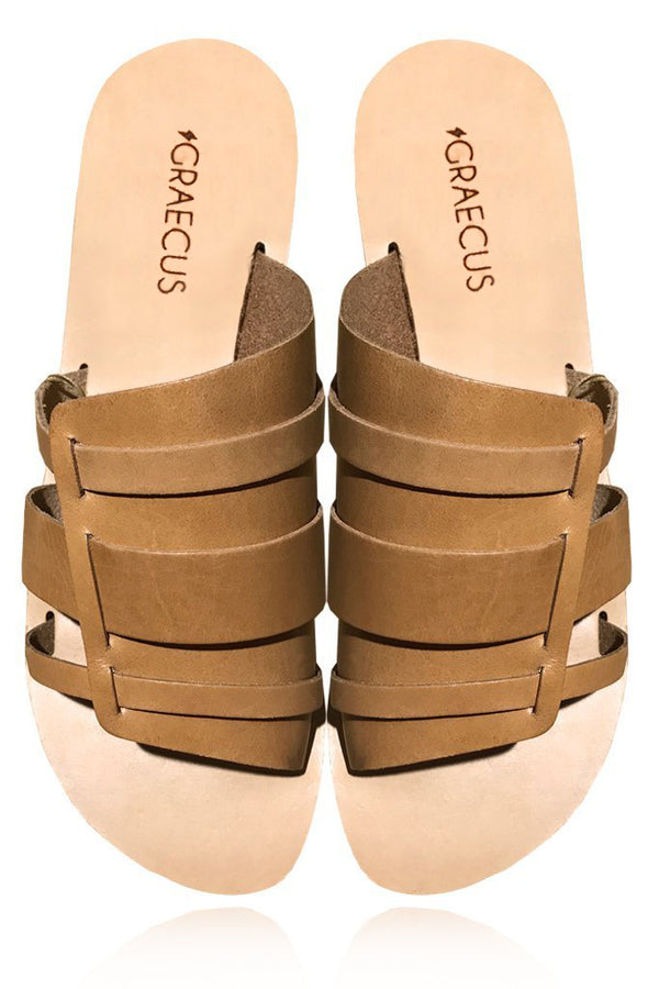 DESMI Beige Leather Sandals | GRAECUS Greek Handmade Leather Sandals